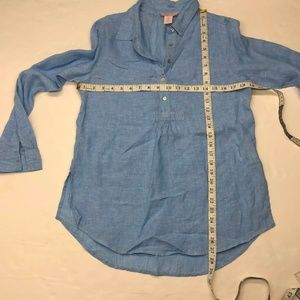 St. Tropez Tops - St. Tropez West Blue Linen Cross Dye Button Shirt